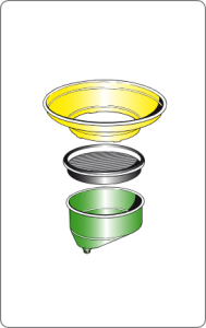 Bowls have a removable oversize funnel at the top, with antisplash screen and an adjustable bowl to increase the operating range.