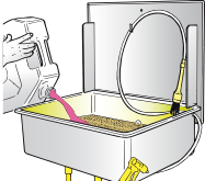 Add between 48-52 litres of detergent for the correct use of the washer